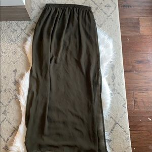 Olive maxi skirt with side slits